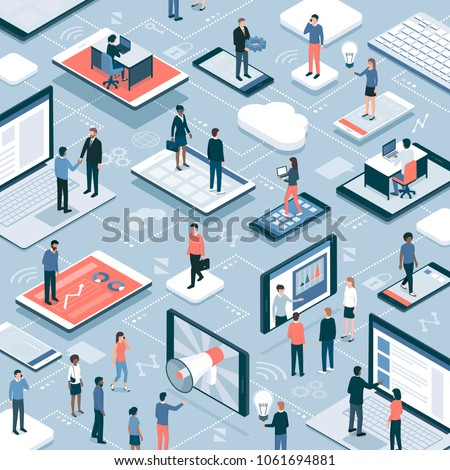 Business people, freelancers, users connecting and working together online using smartphones, tablets and laptops