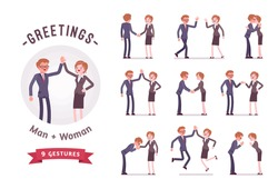 Business people greeting, handshaking, giving high five. Ready-to-use character set. Various poses, emotions, standing, fist bump, bow, hug. Full length, front, rear view isolated, white background
