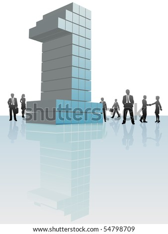 Business people group around a big number One company. - stock vector
