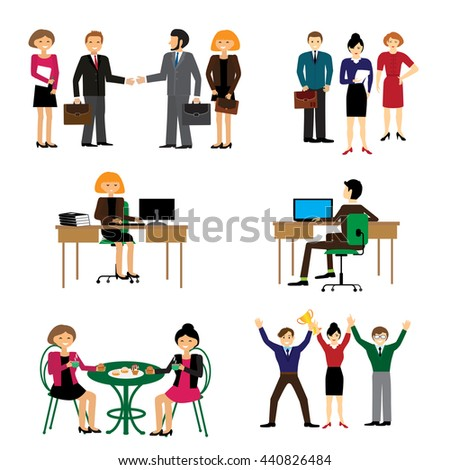 Business people group human resources flat vector illustration. icons with flat design elements of customer service, client support, success business management, teamwork cooperation process.