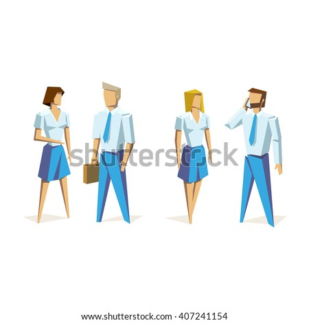 Business people group human resources low poly vector isolated illustration on white background