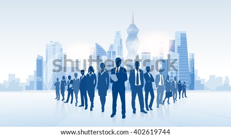 Business People Group Panama City Silhouette Skyscraper Cityscape Background Skyline Vector Illustration