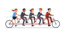 Business people group riding fast on five person tandem bicycle, man and woman in good coordination. Successful businessman collective teamwork cooperation concept. Flat vector illustration.