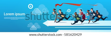 Business People Group Run Team On Arrow Competition Concept Flat Vector Illustration