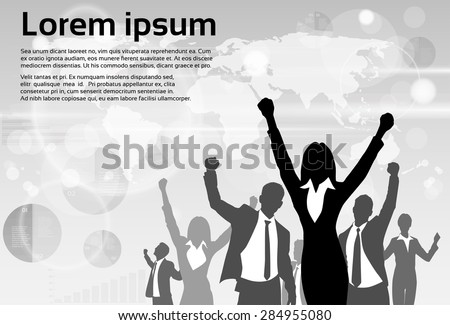 Business People Group Silhouette Excited Hold Hands Up Raised Arms, Businesswoman Concept Winner Success Copy Space Vector Illustration