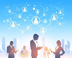 Business People Group Silhouettes Over City Landscape Modern Office Social Network Communication Vector Illustration