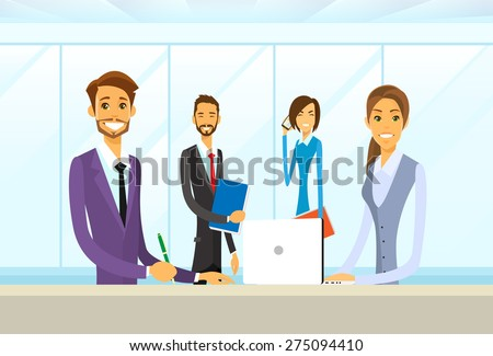 Business People Group Sitting at Office Desk Flat Vector Illustration