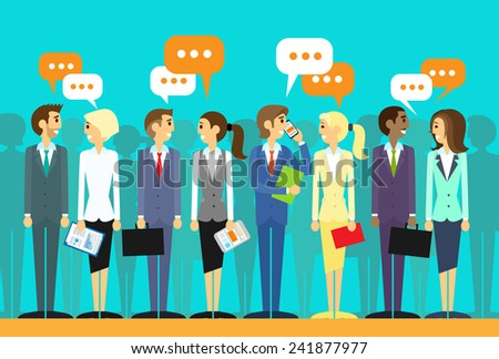 business people group talking discussing chat communication social network flat icon design vector illustration