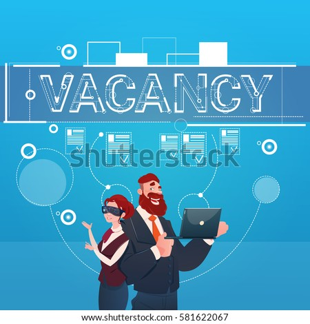 Business People Group Vacancy Search Employee Position Human Resources Recruitment Flat Vector Illustration