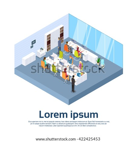 Business People Group Work Modern Office Interior Businesspeople 3d Isometric Vector Illustration