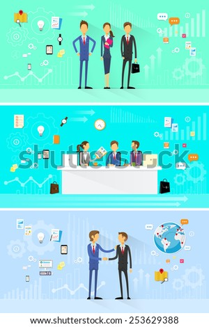 business people group working set, handshake meeting, team working flat design vector illustration