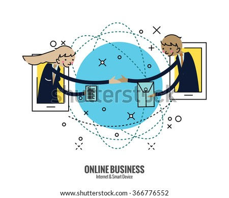 Business people hand shake  on smartphone across the world. online Business concept. flat thin line design elements. vector illustration