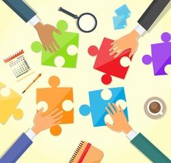 Business People Hands Making Puzzle Desk, Concept Team Work Flat Vector Illustration