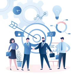 Business people handshake, successful negotiations concept. Male and female characters in trendy style.Business elements and signs. Flat vector illustration