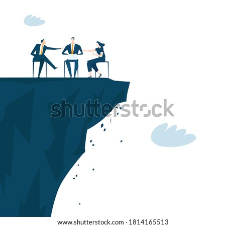 Business people having a meeting at the edge of cliffs, Danger, risky situation, balancing, talking and finding solutions. Business concept illustration.  Сток-фото ©