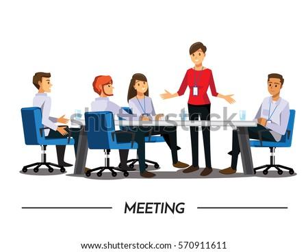 Business People Having Board Meeting,Vector illustration cartoon character.