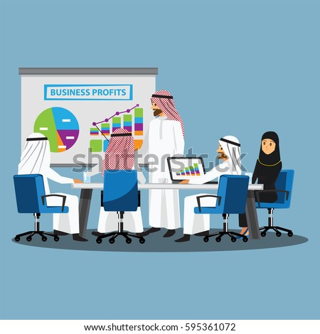 Business People Having Board Meeting,Vector illustration cartoon character