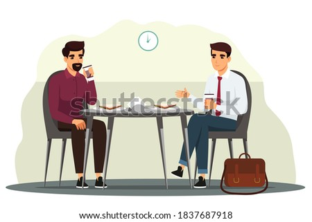 Business people having lunch in break. Office meeting with food and coffee in canteen or cafe. Corporate workers eating and discussing tasks, teamwork vector illustration.
