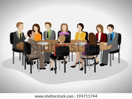 Business People Having Meeting - Isolated On Gray Background - Vector Illustration, Graphic Design Editable For Your Design