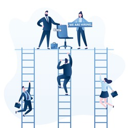 Business people hire. Career ladder concept. Businessman boss with chair and vacant sign. Female holding board- we are hiring. Recruitment banner. Business characters climb stairs to new job. Vector