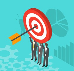 Business people holding target with arrow, vector illustration. Arrow hitting the center of target - flat success business concept