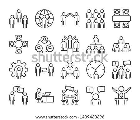 Business people icon. Business people line icon set. Vector illustration in flat line style.