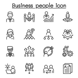 Business people icon set in thin line style