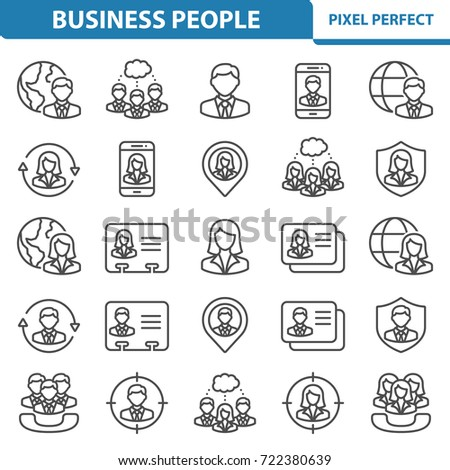 Business People Icons. Professional, pixel perfect icons optimized for both large and small resolutions. EPS 8 format. 2x size for preview.
