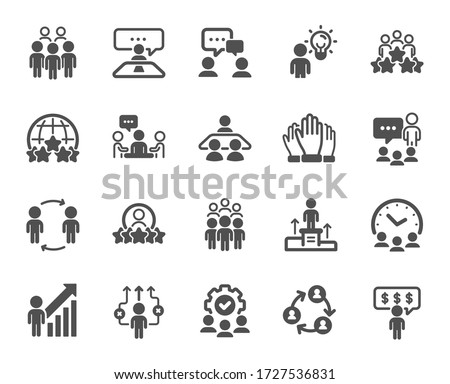 Business people icons. Team, meeting, job structure. Group people, communication, member icons. Congress, talk person, partnership. Job interview, business idea, voting. Quality design element. Vector