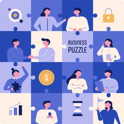 Business people in a blue puzzle collage. vector illustration flat design