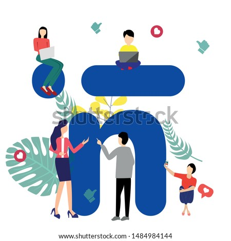 Business people in business social networks. Communication via the Internet and social networks, news, messages, chats, search for employees and partners in business. Bright vector illustration.