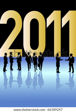 Business people in different situations is celebrating New Year 2011 in front of a big golden 2011 sign.