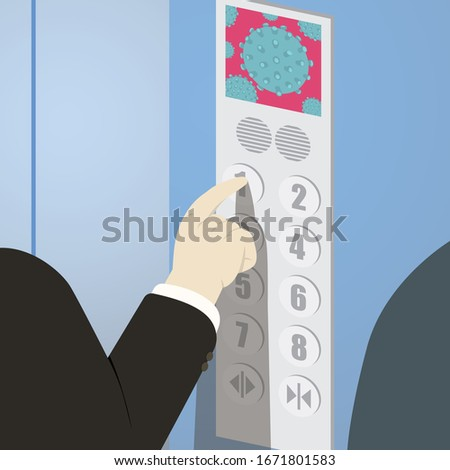 Business people in elevator choosing floor at panel. Covid19 is everywhere even in elevator. Coronavirus inside elevator with people.