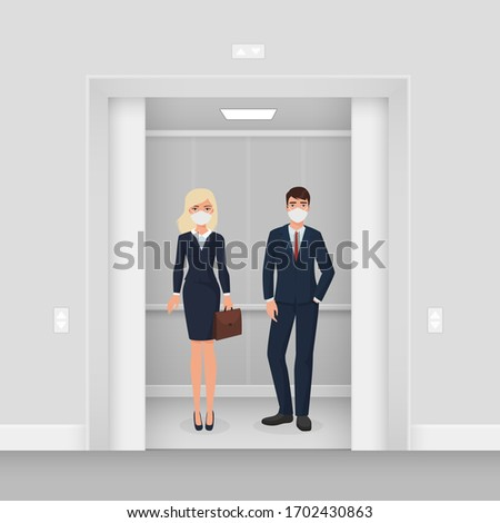 Business people in masks in elevator character flat cartoon vector illustration concept. Man and woman in formal wear with masks in illuminated elevator with opened door. Keep distance concept