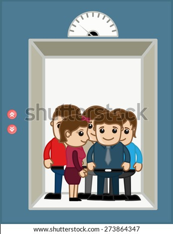 Business People in Office Elevator - Vector Illustration