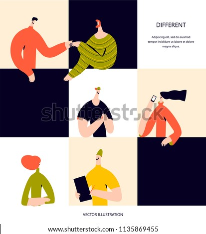 Business people in puzzle collage. Vector illustration flat design. Use in Web Project and Applications.