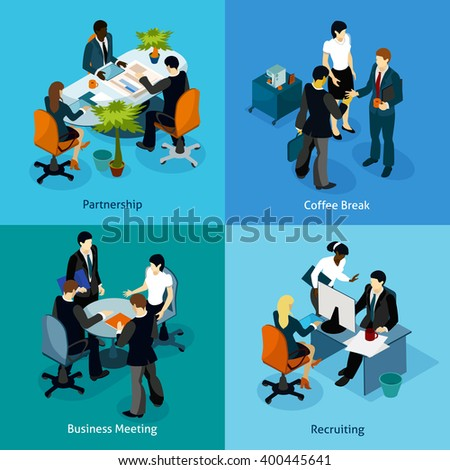 Business people isometric icon set with white-collar workers on negotiation and during normal business hours vector illustration