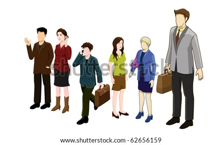 business people isometric series. very  detail vector illustration.