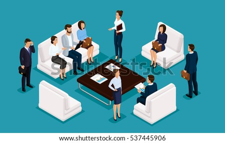 Business people isometric set of men and women in corporate attire meeting, brainstorming isolated on a blue background vector illustration.