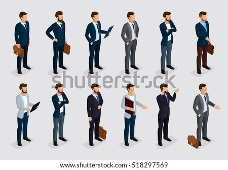 Business people isometric set of men in suits on a gray light background, beard styling stylish hairstyle mustache office. Qualitative study. Vector illustration
