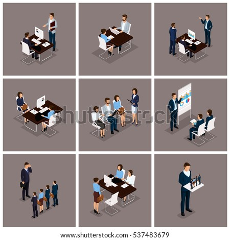 Business people isometric set of women and men in a set of 3D business concept isolated on a dark background.