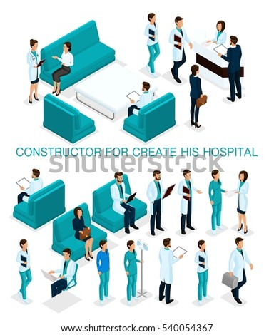 Business people isometric set to create his illustrations, hospitals, doctors, patients, reception, Nurse 3D medical staff isolated on white background.