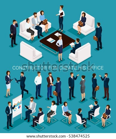 Business people isometric set to create his illustrations meeting with men and women in corporate attire isolated on a blue background vector illustration.