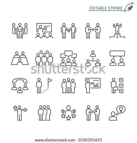 Business people line icons. Editable stroke. Pixel perfect. #1030305691