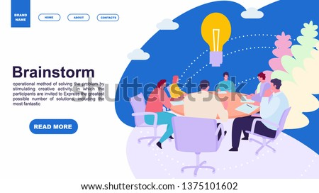 Business people meeting at office. Brainstorming concept. Landing page template of family. web page design and mobile website. Vector illustration flat cartoon style