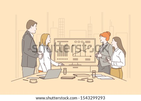 Business people meeting concept. Businessman and women presentation in conference room, office workers presenting financial statement, partners discussing project, workflow process. Simple flat vector