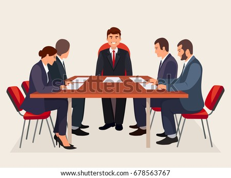 Business people meeting in conference room. Characters isolated on background. Teamwork or brainstorming concept. Vector illustration. Flat style design