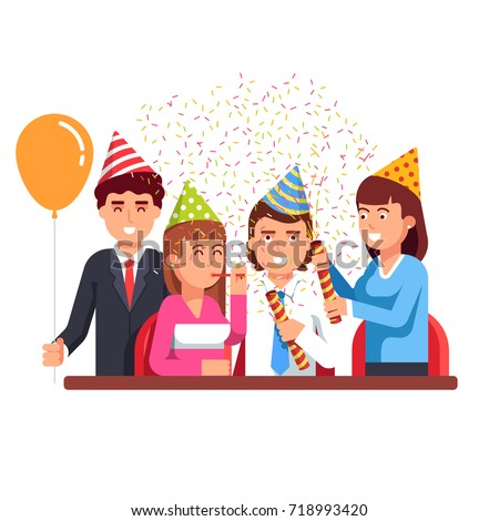 Business people men & women staff having fun at corporate party wearing pointy hats, shooting confetti poppers. Anniversary celebration, professional holiday or birthday. Flat vector illustration.