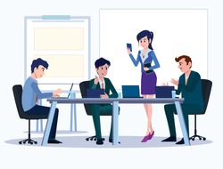 Business people. Office team cartoon characters. Group of business men women, standing persons. Teamwork colleagues vector concept. Illustration vector of discussion and talk, Board background.
