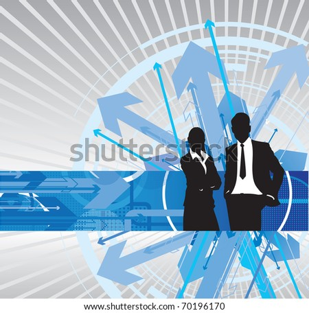 business people on an abstract arrow background - stock vector